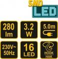 Lampa montážní 13 LED 3,2W/230V Vorel