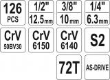 """Gola sada 1/2"""", 3/8"""", 1/4"""" + příslušenství 126 ks Yato"""