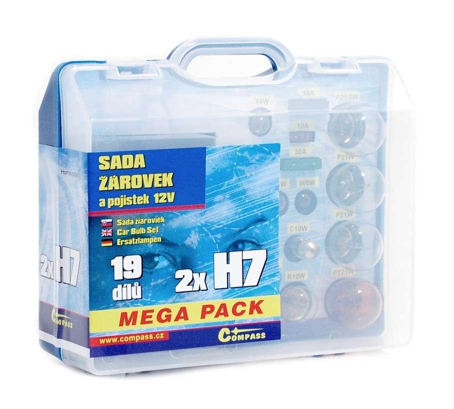 Žárovky 12V servisní box MEGA H7+H7+pojistky Compass