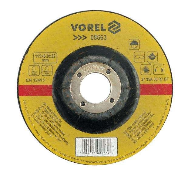 Kotouč na kov 230 x 22 x 6,8 mm vypouklý brusný Vorel