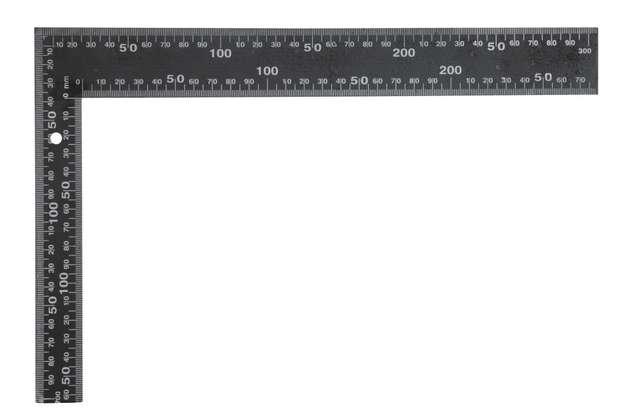 Úhelník truhlářský 300 x 200 mm černý Vorel
