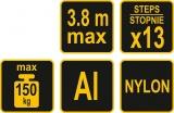 Žebřík teleskopický, 13 příček, nosnost 150 kg, 0,88-3,8m Vorel