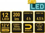 Lampa pracovní 12 SMD LED Vorel