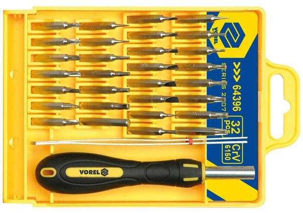 Šroubovák hodinářský + bity 32 ks CrV Vorel